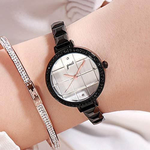 RONSHIN Gifts for Girls,Women Waterproof Bracelet Watch with Checked Bling Starry Dial for Students Office Black Shell White dial by RONSHIN