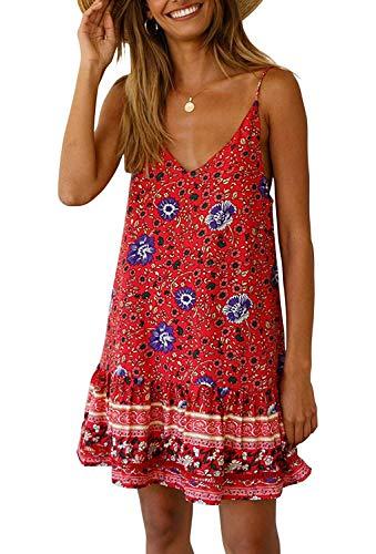 - Women's Boho Dress - Floral Printed Spaghetti Strap V Neck Sleeveless Tunic Beach Short Dress Red S