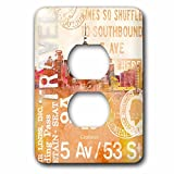 3dRose Andrea Haase Art Illustration - City Skyline And Typography Travel Illustration - Light Switch Covers - 2 plug outlet cover (lsp_268381_6)