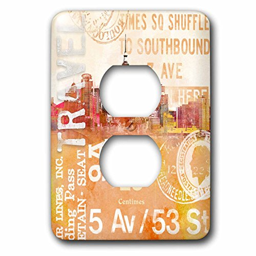 3dRose Andrea Haase Art Illustration - City Skyline And Typography Travel Illustration - Light Switch Covers - 2 plug outlet cover (lsp_268381_6) by 3dRose