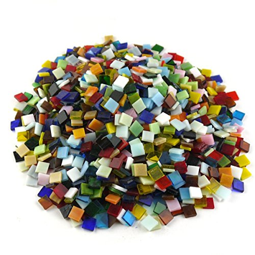 (NABLUE Assorted Colors Vitreous Glass Mosaic Tiles For Home Decoration and Crafts Supply - 0.4 by 0.4 inches,500 Pieces, 300 g )