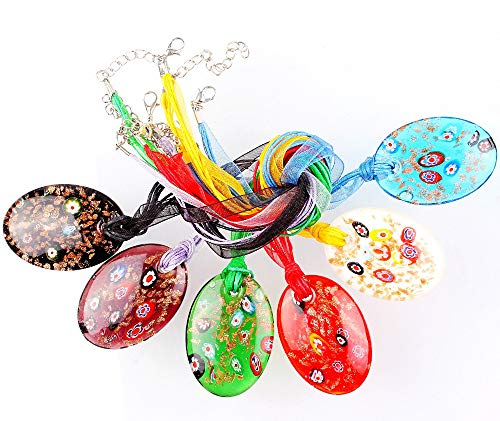 - Handmade Glass Pendant Fashion Beauty 6Pcs Handmade Murano Lampwork Glass Mixed Colorful Round Gold Sand Millefiori Pendants Charms Necklaces