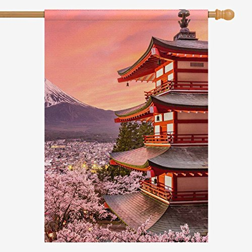 INTERESTPRINT Japanese Chureito Pagoda and Mt. Fuji with Spring Sakura Cherry Blossoms Decorative Flag House Flag House Banner Party Wedding Yard Home Decor 28