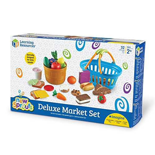 Learning Resources New Sprouts Deluxe Market Set, Play Food, Grocery Play Toy, 32 Piece Set, Ages 2+