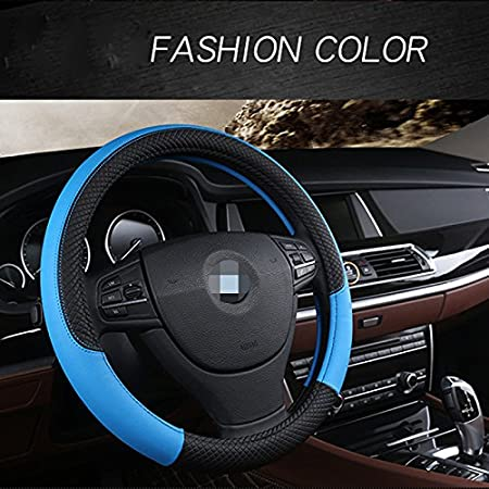 Red Durable Soft Cdycam Universal Non- slip Auto PU Leather Steering Wheel Cover Handle Cover Breathable 15 Inch