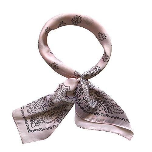 QBSM Women 27'' Large Square Satin Silk Feeling Polyester Hair Scarf Wraps Neckerchief (Paisley Silk Belt)