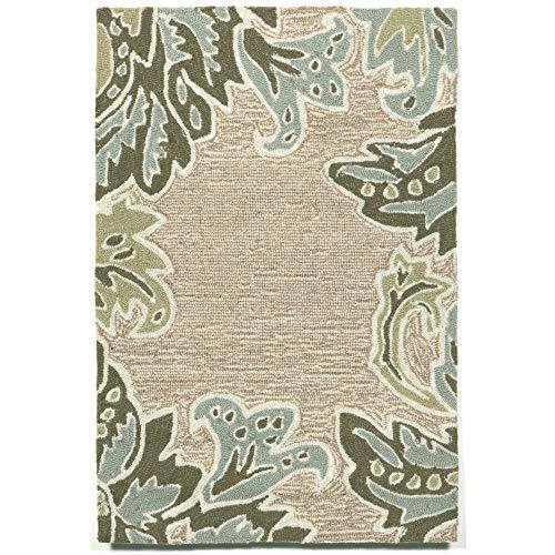 Liora Manne Ravella Ornamental Leaf Border Rug, Indoor/Outdoor, 24-Inch by 36-Inch, Aqua