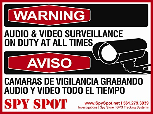 Warning Audio and Video Surveillance on Duty At All Times Plastic CCTV Sign in English / Spanish