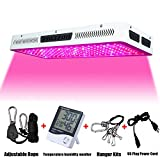 Phlizon 2017 Newest 2000W High Power Series Plant LED Grow Light,with Thermometer Humidity Monitor,with Adjustable Rope,Double Chips Full Spectrum Grow Lamp for Indoor Plants Veg and Flower