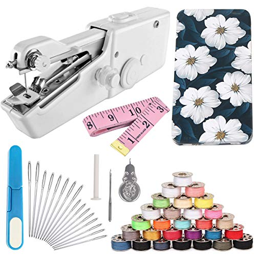 Handheld Sewing Machine and Sewing Thread Kit,Mini Portable Sewing Machine,28 Pcs Sewing Threads,16 Pcs Sewing Needles,Scissors and Measuring ()