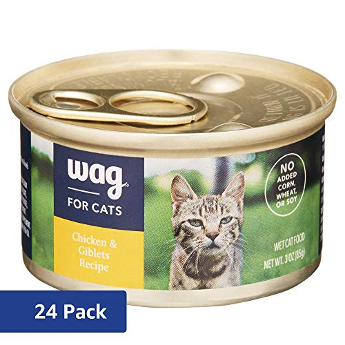 Amazon Brand - Wag Wet Cat Food, Chicken & Giblets Recipe, 3 oz Can (Pack of 24)