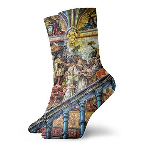 YIEOFH Gallery Art Mural Baroque Ancestors Novelty Boys Girls Fashion Cute Funny Casual Art Crew Socks ()