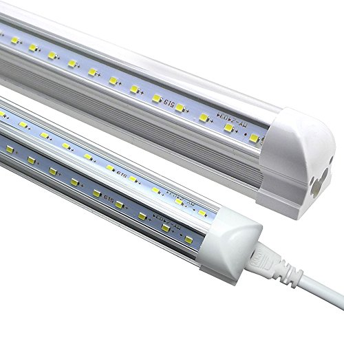 LEDs Tube Light, 8FT 72W (150W Fluorescent Equivalent), Double Side V Shape Integrated Bulb Lamp, Works without T8 Ballast, Plug and Play, Clear Lens Cover, Cold White 6000K - Pack of 25 Units by Jomitop (Image #9)