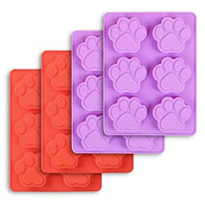 Cozihom Dog Paw Shaped Silicone Molds, 6 Cavity, Food Grade, FDA Approved, BPA Free, for Chocolate, Candy, Pudding, Jelly. 4 Pcs