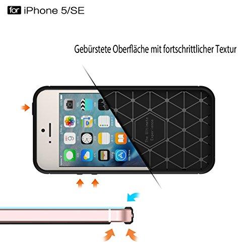 TPU Silikon Hülle iPhone 5 / 5S / SE Brushed Carbondesign Anthrazit von wortek