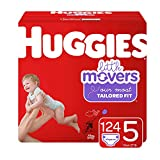 Huggies Little Movers Diapers, Size 5 (27+ lb.), 124 Ct, Economy Plus Pack (Packaging May Vary): more info