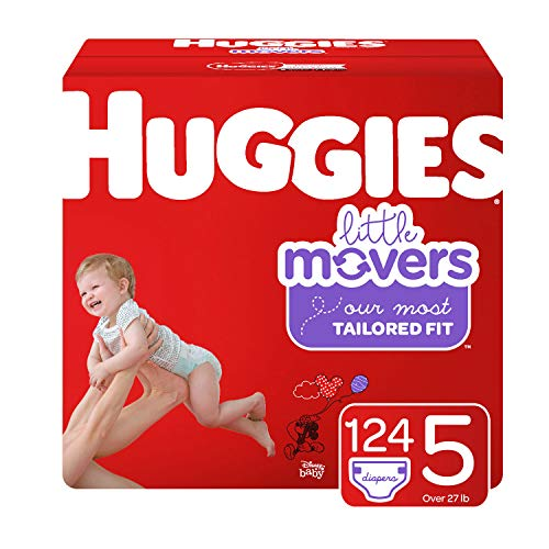 - Huggies Little Movers Diapers, Size 5 (27+ lb.), 124 Ct, Economy Plus Pack (Packaging May Vary)