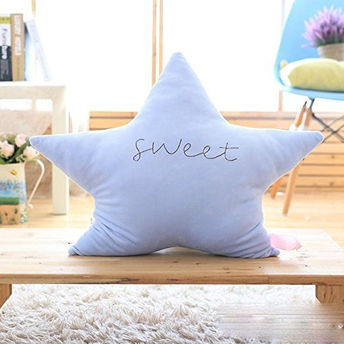HOMEE Cartoon Stars Moon Pillow Fairy Tale Tiny Stars Dolls Office Soft Lunch Break Pillow Children'S Toys,Blue Star,45Cm