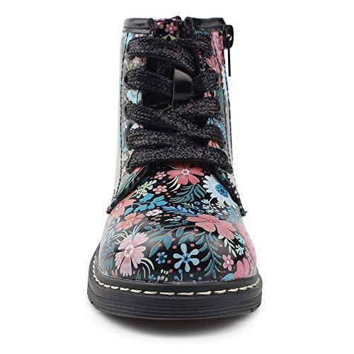 Chiximaxu Classic Waterproof Shoes for Girl Toddler Zip Flower Walking Boots,Little Kid 12M