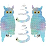 Senneny Scare Birds Away, Owl And Spiral Cobra Bird Deterrent Kit, Holographic Reflective Bird Repellent Control Scare Device, Total 4 Pack