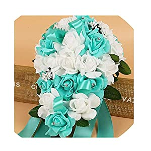 WodCht Beautiful Artificial Bridal Bouquets Crystal Bridesmaid Bridal Wedding Bouquets Water Drop Shaped Turquoise 21