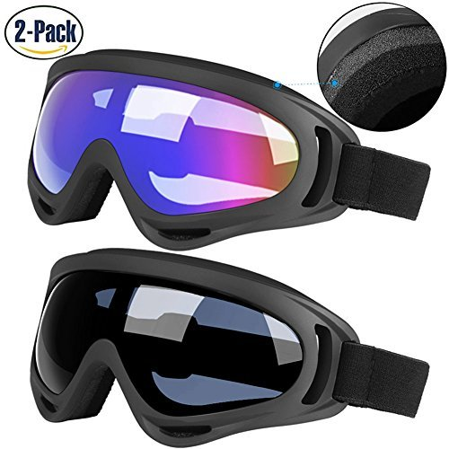 Ski Goggles, 2 Pack Updated Snowboard Goggles for Kids Men Women Boys & Girls with Thickening Sponge UV 400 Protection Windproof Heeta