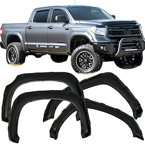 Fender Flare Fits 2014-2018 Toyota Tundra | Pocket Rivet Style Smooth Black ABS Wheel Protector Protection Guards Cover by IKONMOTORSPORTS | 2015 2016