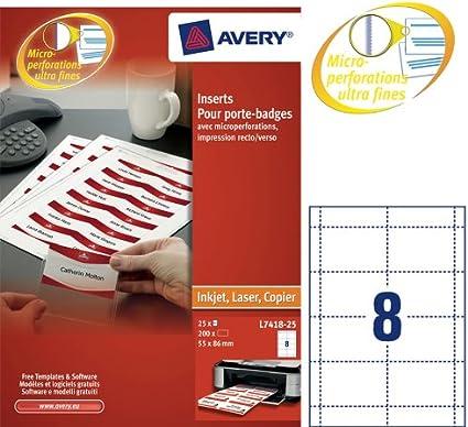 Avery Name Badges Laser-printable Refill Kit 8 per Card Ref L7418-25
