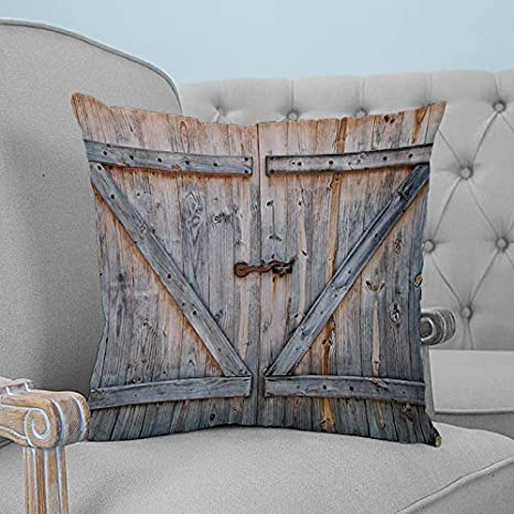 Throw Pillow Cover Rustic Farmhouse Wooden Barn Granary Door Pillow Case Square Cushion Cover Super Soft Brushed Fabric Room Decor Pillowcase For Home Couch Sofa Bed 20 X 20 Home