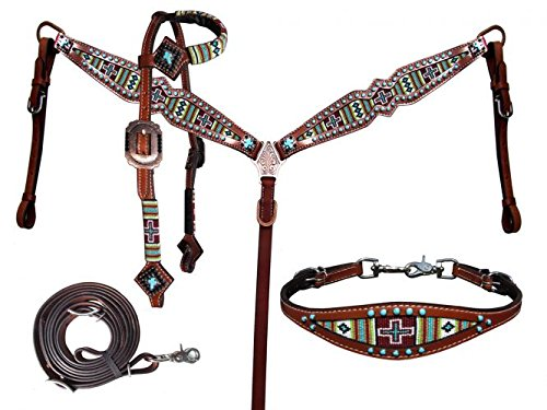 Showman 4 Piece Beaded Navajo Cross Print Headstall and Breast Collar Set ()