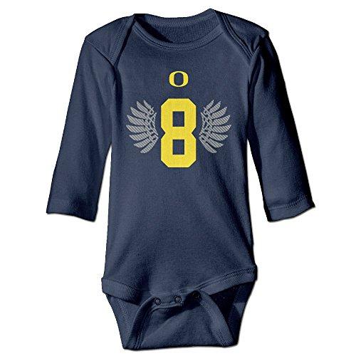 Kids Baby Oregon Ducks #8 Marcus Mariota Wings Long-sleeve Romper Jumpsuit (Oregon Embroidered Long Sleeve)