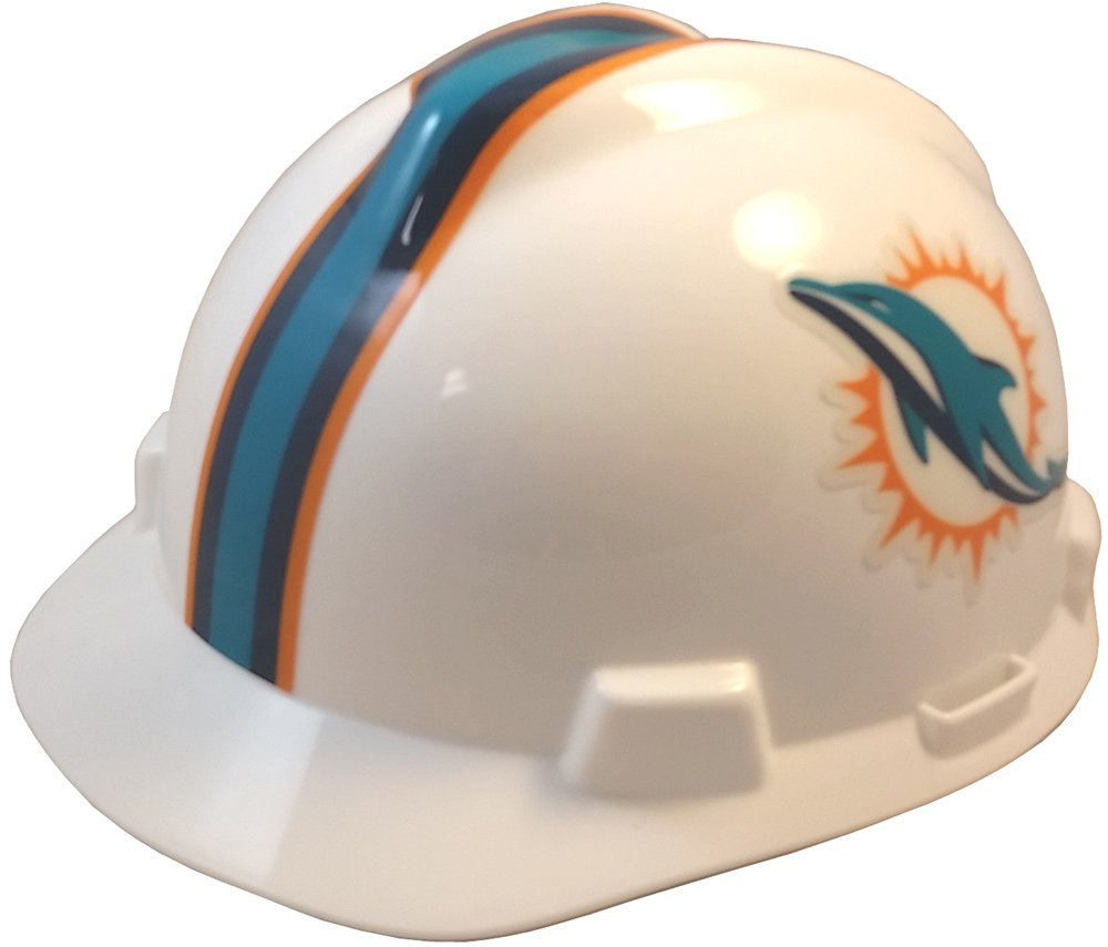 MSA NFL Ratchet Suspension Hardhats with Hard Hat - Miami Dolphins Hard Hats by MSA
