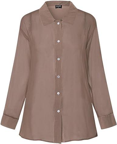 Mujer Transparente Transparente Top OtoñO Solapa Cuello Manga Larga BotóN Abajo SóLido SeñOras Ropa De Playa Camisa De Oficina Blusa