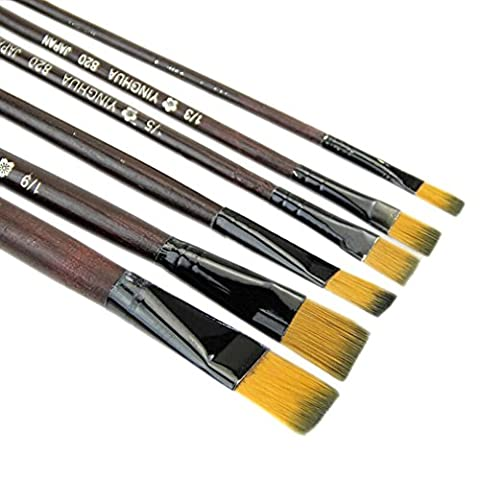 Luweki Pack of 6 Art Brown Nylon Paint Brushes for Acrylic (Flat Top Paint Brush)