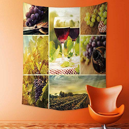aolankaili Tapestry Mystic House Decor,Style Collage of Wine Glass Grapes and Vineyard Qualified Harvest Village Picture Art Bedroom Living Room Dorm Wall Hanging Tapestry