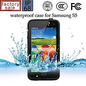 City View(TM) Waterproof Dustproof Snowproof Shockproof Hard Armor Protective Cover Case For Samsung Galaxy S5 I9600 with Stylus Pen (Black)