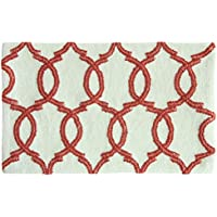 Bacova Guild Quinn Bath Accent Rug, White/Spice Coral