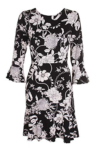 amp; Floral Print Club M White Dress Black Ruffled Flare Fit Charter 0d7tqx0