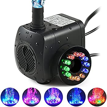TOPBRY 220 GPH Submersible Water Pump(800L/H, 15W),Ultra Quiet 12 LED Colorful Pump Lights with 2 Nozzles,6 Feet Power Cord for Fish Tank, Pond, Aquarium, ...
