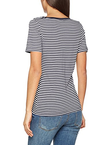 Vero Moda Vmmarley Stripe Ss V-Neck Top Jrs, Camiseta para Mujer Multicolor (Snow White Stripes: Black)