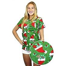 Funky Hawaiian Blouse Women Short-Sleeve Front-Pocket Christmas Hats Snow Green