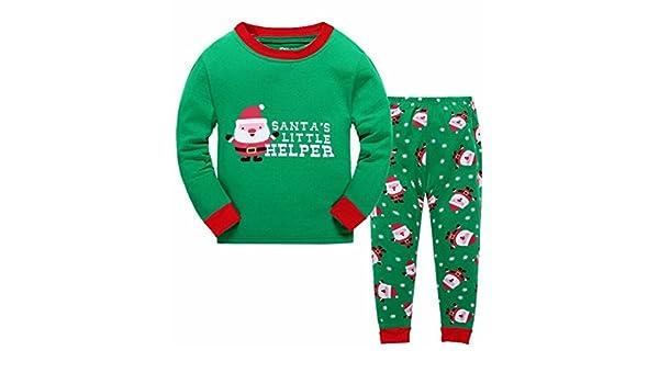 661426d9c Bebone Conjunto de Pijama para Navidad Santa Claus Camiseta Manga Larga y Pantalones  Largas para Niñas Niños (Verde