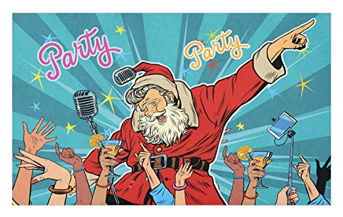 Ambesonne Santa Doormat, Rock 'n' Roll Singing Santa with Dancing People at Christmas Party Retro Pop Art Style, Decorative Polyester Floor Mat with Non-Skid Backing, 30