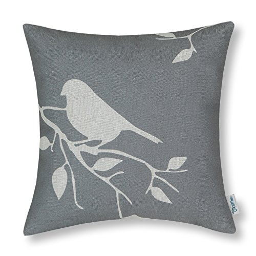 CaliTime Canvas Throw Pillow Cover Case for Couch Sofa Home, Cute Bird Tree Branches Silhouette, 18 X 18 Inches, (Bird Silhouette)