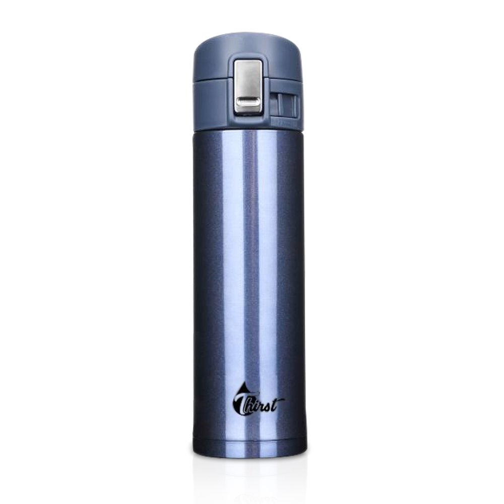 Thirst Double Wall Vacuum Insulated Stainless Steel Leak proof Water Bottle/Travel Coffee & Tea Mug, BPA Free 17oz - (Blue)