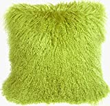 Pillow Decor - Mongolian Sheepskin Green Throw Pillow