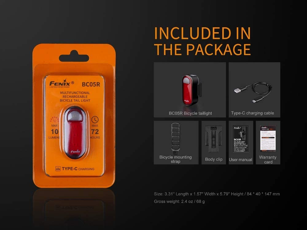 New Fenix BC05R USB Rechargeable Bike Bicycle LED Red Tail Light Flashlight