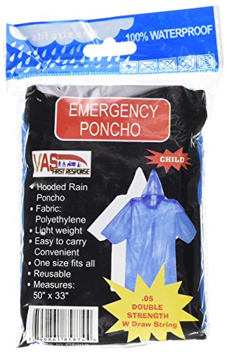 4 PACK VAS DOUBLE STRENGTH 5 MIL CHILDS BLUE 50 x 33 EMERGENCY HOODED RAIN PONCHO WITH HODD, SLEEVES & DRAW STRING