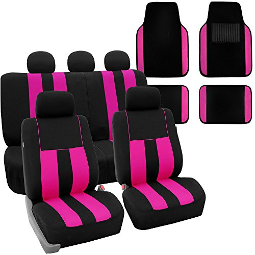 FH Group FH-FB036115 + F14407 Combo Set: Striking Striped Seat Covers with Premium Carpet Floor Mats Pink/Black Color- Fit Most Car, Truck, SUV, or Van