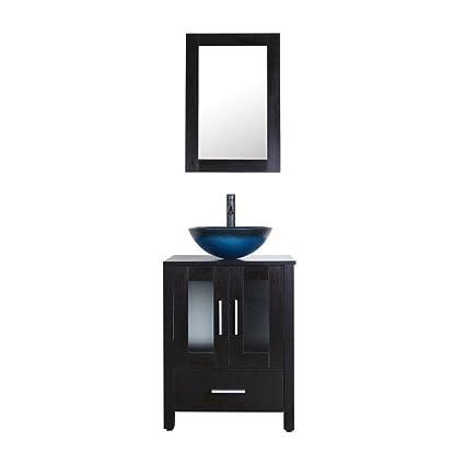 Bathenum 24 Inch Bathroom Vanity Combo Modern MDF Cabinet With Vanity  Mirror Sky Blue Tempered Glass